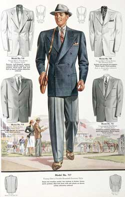 Original double breasted suit, wide trousers and hat