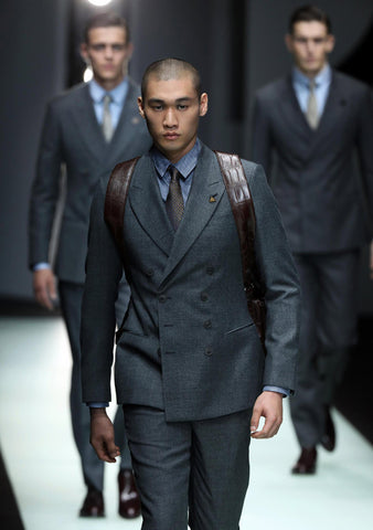 Classic grey double breasted jacket, shirt and tie GQ