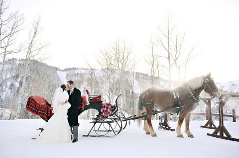 Snowy winter wedding - wool ties and beautiful bride.