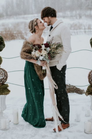 Winter wedding tweed tie.  Green bridesmaid dress. snow