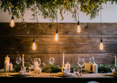 Hygge wedding.  Winter lighting, rustic table setting