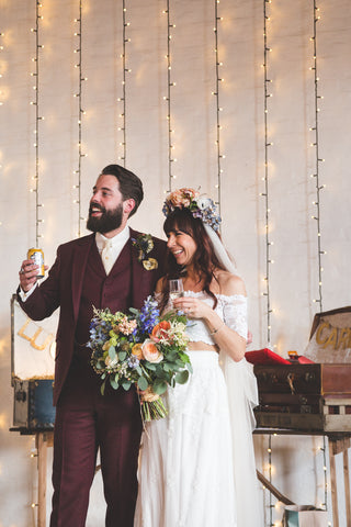 Burgundy Suit Alternative Hipster Wedding
