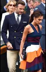 David and Victoria Beckham Wimbledon suit tie and pocket square