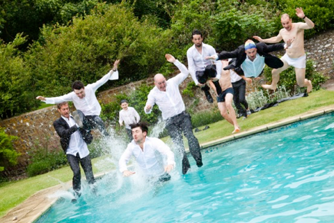 summer wedding fun swimming pool dickie bow wedding blog