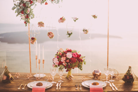 wedding style copper candles hanging flowers