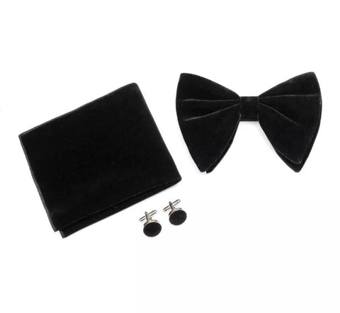 Bertie: Black Velvet Bow Tie, Velvet Pocket Square and Matching Cufflinks | Dickie Bow