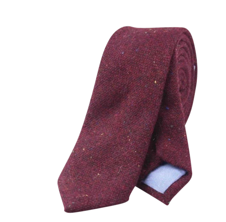 Carter Tweed Burgundy Red Skinny Tie | Dickie Bow