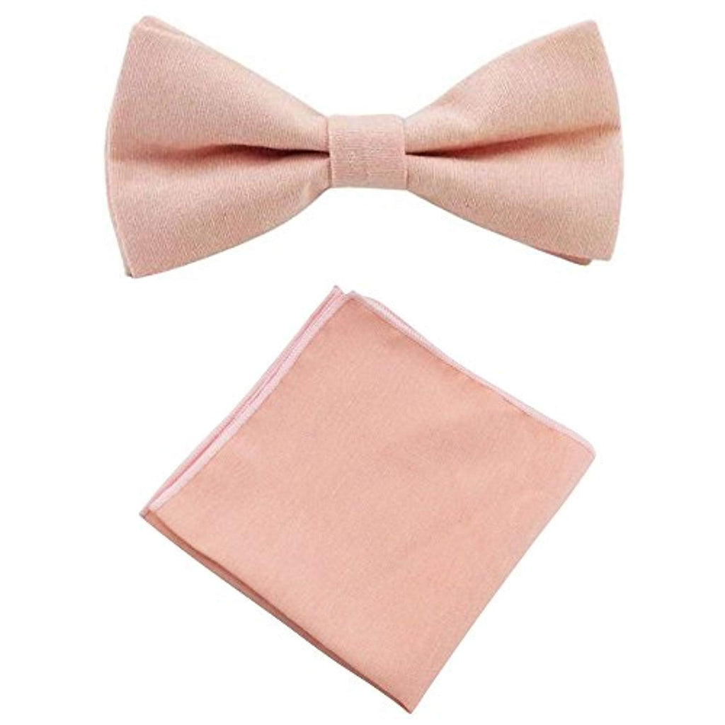 Romeo Blush Pink/Peach Cotton Bow Tie and Pocket Square Set | Dickie Bow