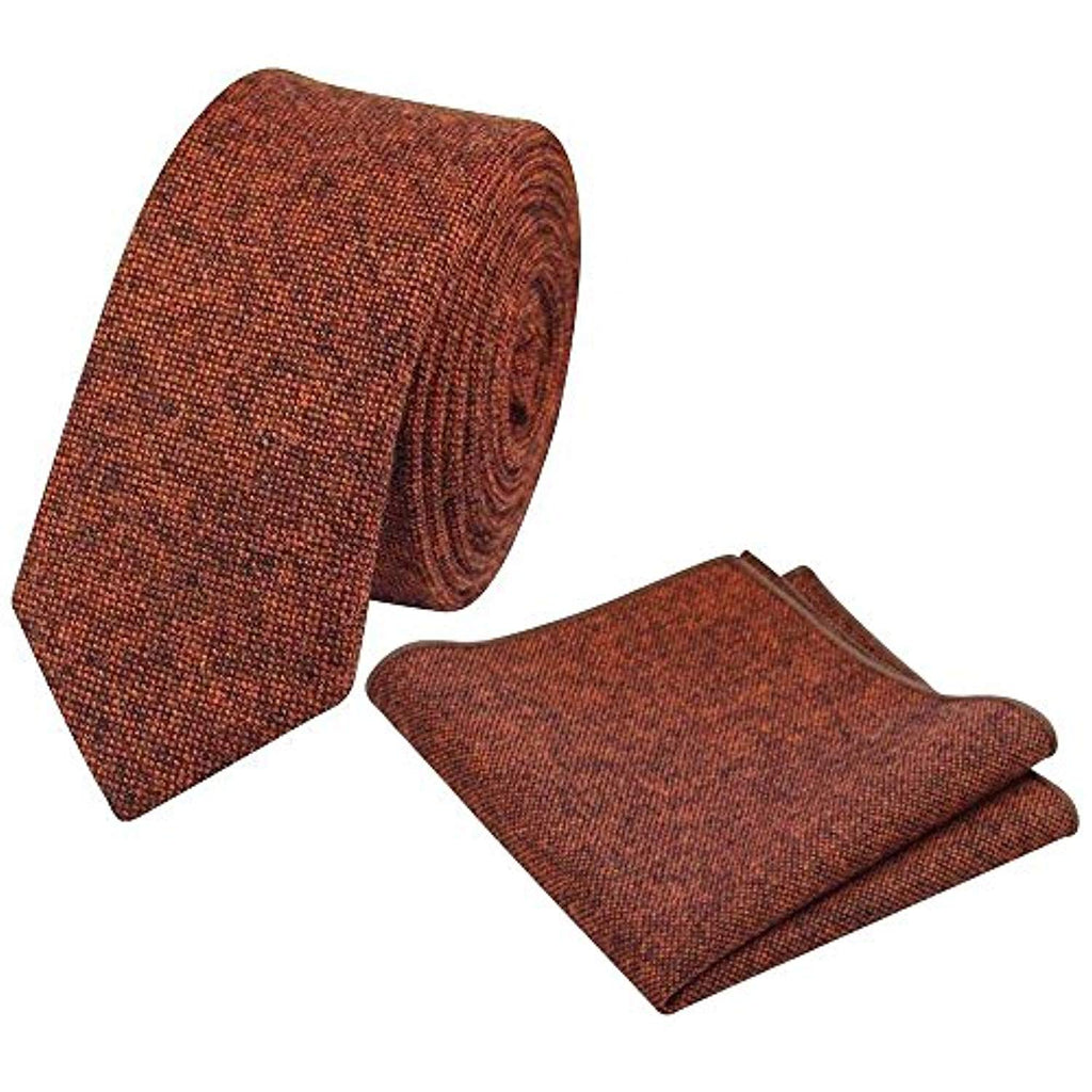 Charlie Burnt Orange Skinny Tweed Tie & Pocket Square Set | Dickie Bow