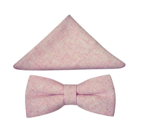Leah Mens Dusty Pink Bow Tie and Pocket Square