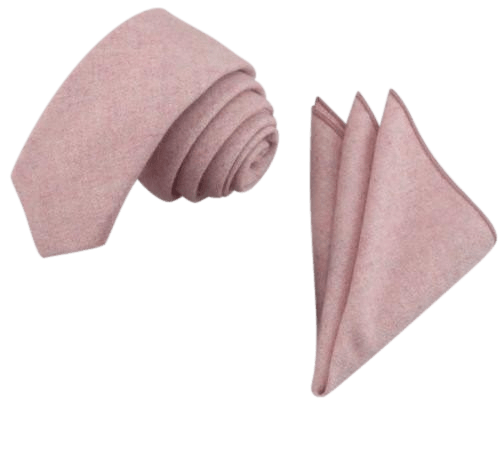 Leah Dusty Pink Wool Tie and Pocket Square Set | Dickie Bow
