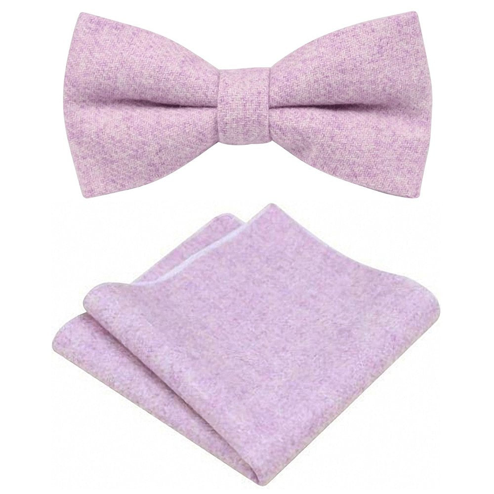 Wilbur Purple Tweed Bow Tie & Pocket Square Set