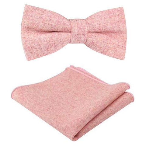 Ariah Country Pink Tweed Bow Tie and Pocket Square Set | Dickie Bow
