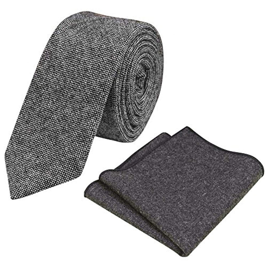 Jessica Charcoal Grey Skinny Tweed Tie & Pocket Square Set | Dickie Bow