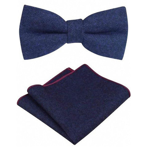 Arthur Navy Blue Tweed Bow Tie & Pocket Square Set | Dickie Bow