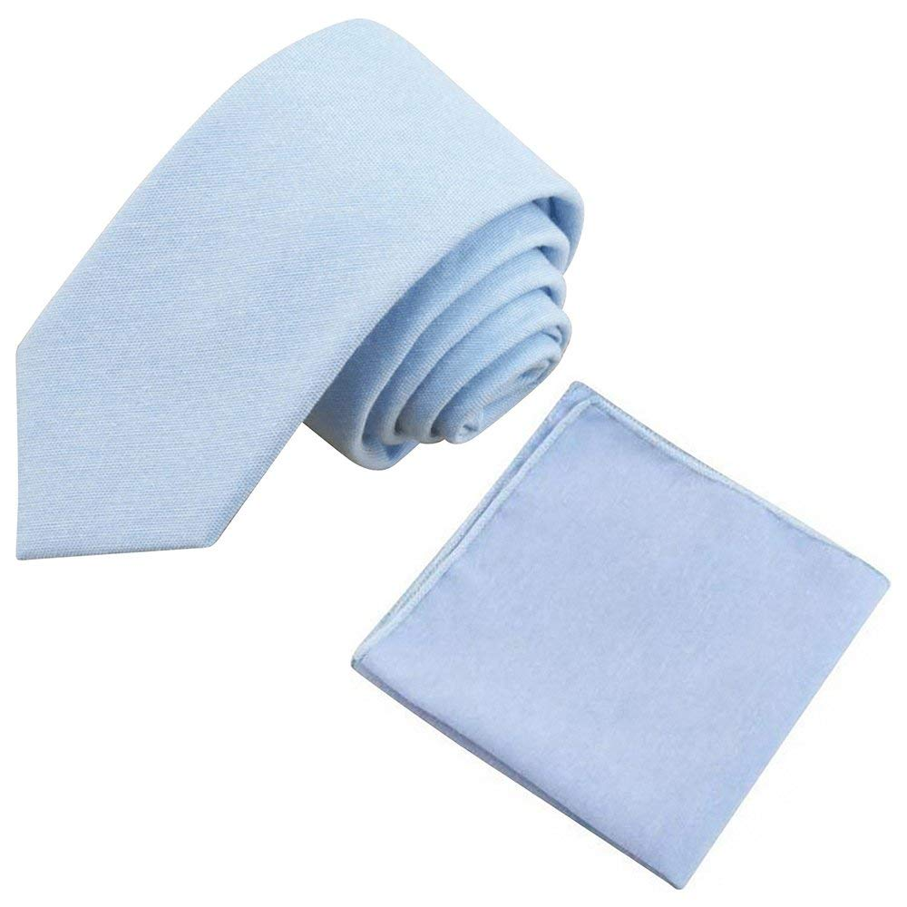 Leo Pale Blue Cotton Skinny Tie & Pocket Square Set | Dickie Bow