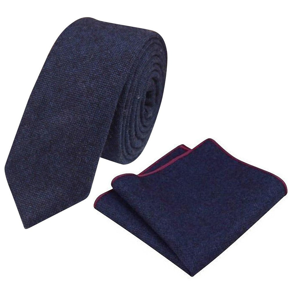 Arthur Navy Blue Skinny Tweed Tie & Pocket Square Set | Dickie Bow