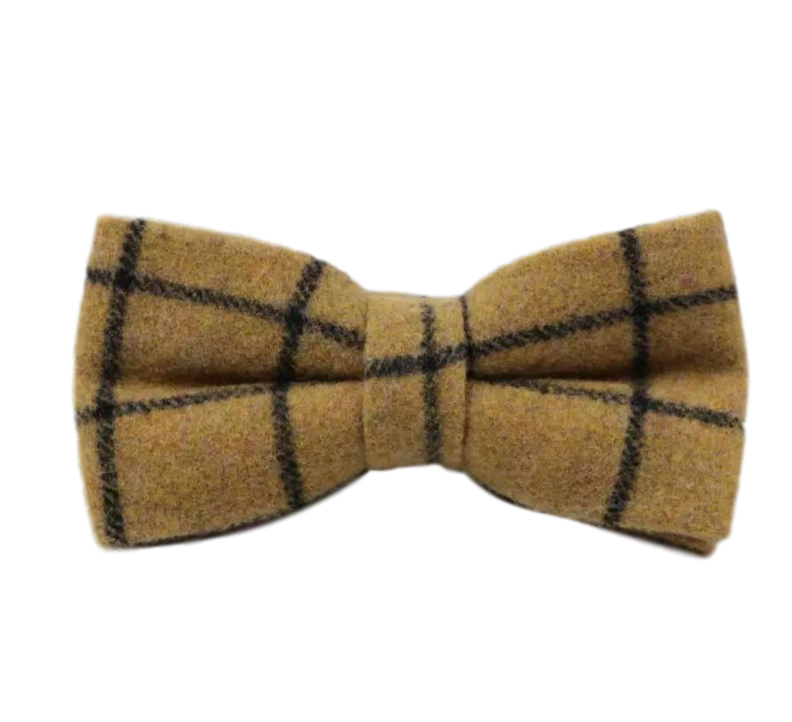 Luther Mustard Yellow Check Mens Tweed Bow Tie | Dickie Bow
