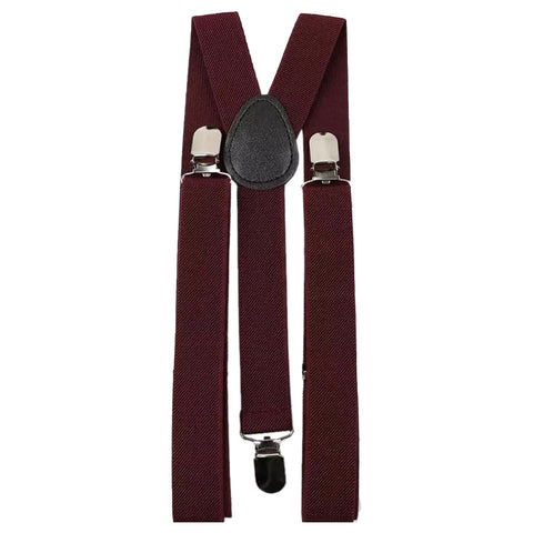 Adults Burgundy Red Adjustable Braces | Dickie Bow