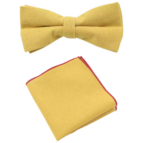 Alfie Mustard Yellow Cotton Bow Tie and Pocket Square Set | Dickie Bow