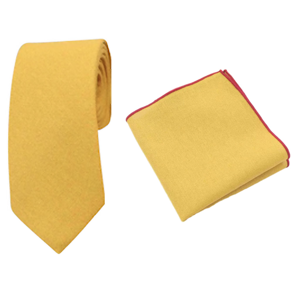 Alfie Mustard Yellow Cotton Tie and Pocket Square Set | Dickie Bow
