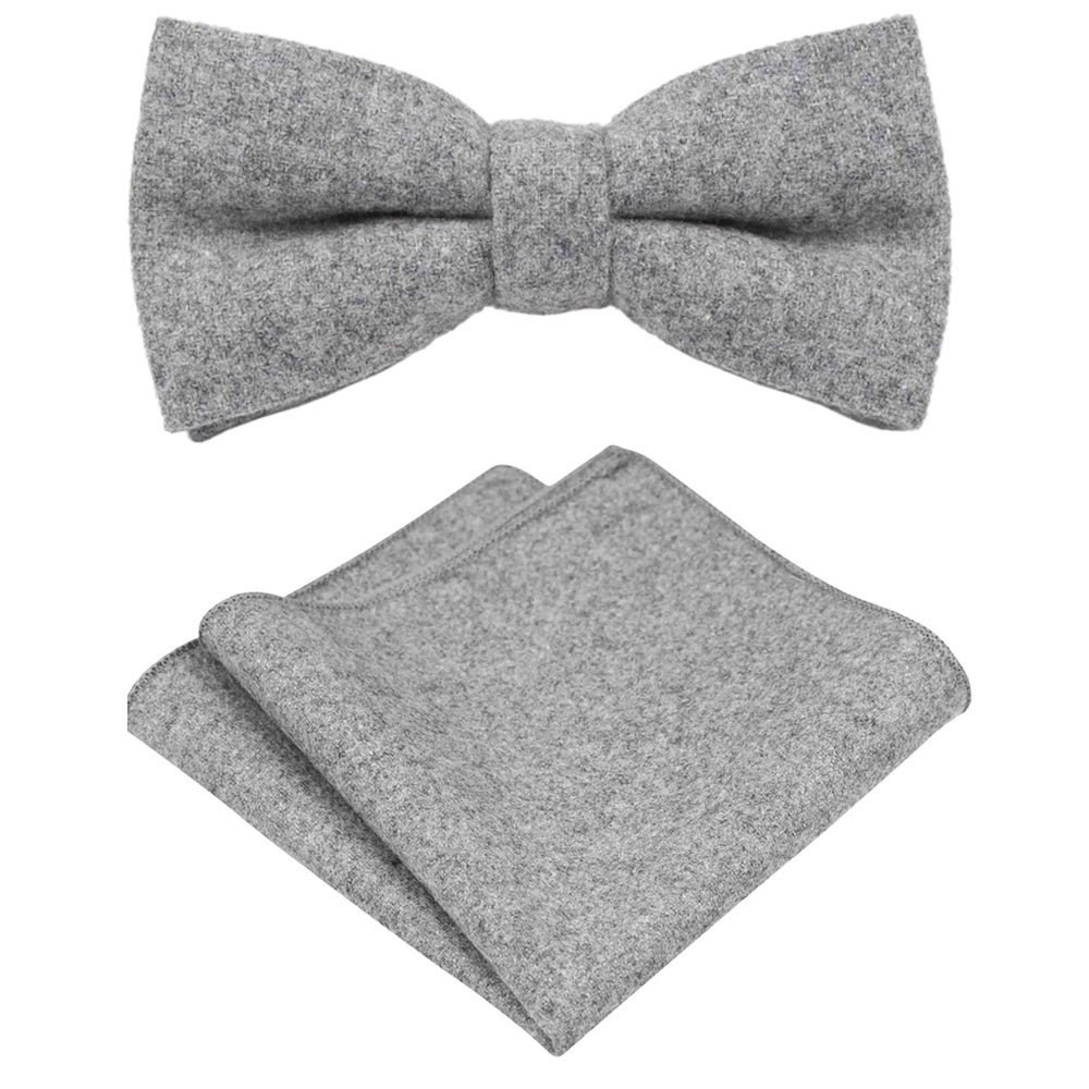 Amelia Grey Tweed Bow Tie & Pocket Square Set