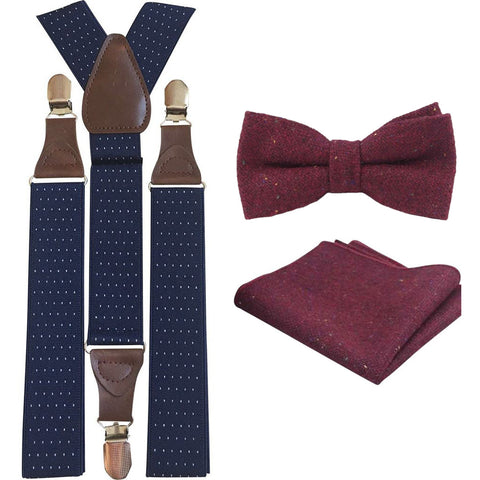 Carter Burgundy Red Adult Tweed Bow Tie, Pocket Square and Navy Blue Polka Dot Braces Set