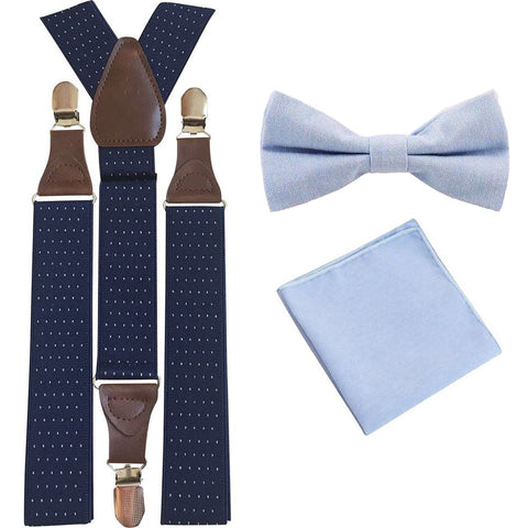 Leo Pale Blue Adult Cotton Bow Tie, Pocket Square and Navy Blue Polka Dot Braces Set