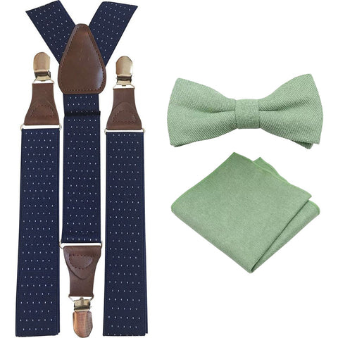 Harrison Sage Green Adult Cotton Bow Tie, Pocket Square and Navy Blue Polka Dot Braces Set