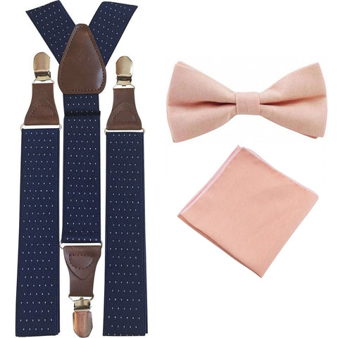 Romeo Blush Pink Adult Cotton Bow Tie, Pocket Square and Navy Blue Polka Dot Braces Set