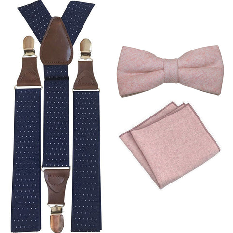 Tallulah Dusty Pink Adult Wool Bow Tie, Pocket Square and Navy Blue Polka Dot Braces Set
