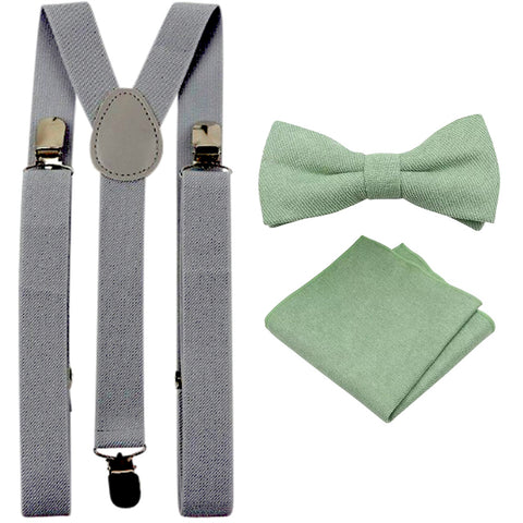 Harrison Sage Green Adult Cotton Bow Tie, Pocket Square and Slate Grey Braces Set