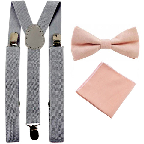 Romeo Blush Pink Adult Cotton Bow Tie, Pocket Square and Slate Grey Braces Set