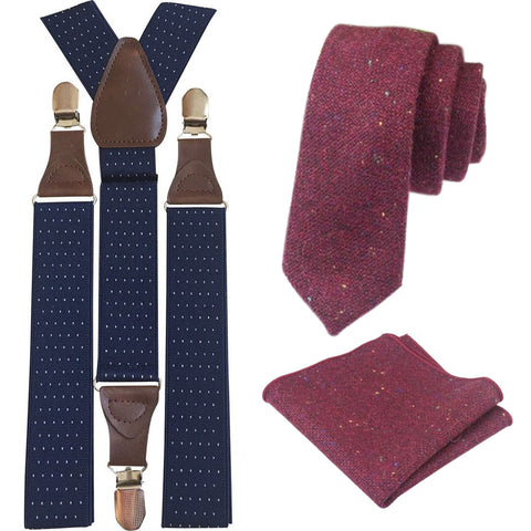 Carter Tweed Burgundy Red Adult Tie and Pocket Square with Navy Blue Polka Dot Braces Set