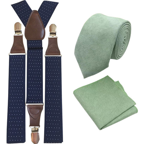 Harrison: Sage Green Cotton Blend Tie and Pocket Square with Navy Blue Polka Dot Adult Braces Set