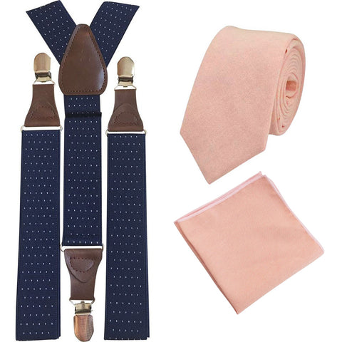 Romeo Blush Pink/Peach Skinny Cotton Tie and Pocket Square with Navy Blue Polka Dot Adult Braces Set
