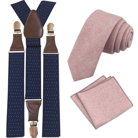 Tallulah Dusty Pink Adult Wool Tie and Pocket Square with Navy Blue Polka Dot Braces Set