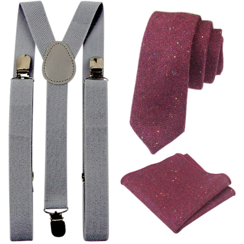 Carter Tweed Burgundy Red Adult Tie and Pocket Square with Slate Grey Braces Set