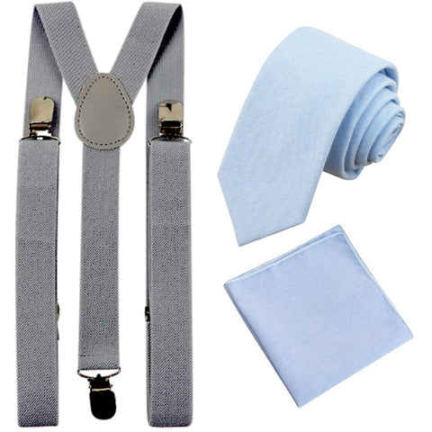 Leo Pale Blue Cotton Skinny Tie & Pocket Square with Slate Grey Adult Braces Set