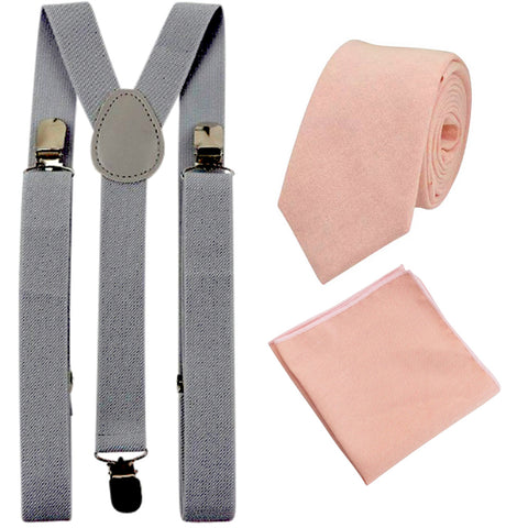 Romeo Blush Pink/Peach Skinny Cotton Tie and Pocket Square with Slate Grey Adult Braces Set
