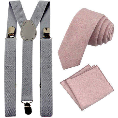 Tallulah Dusty Pink Adult Wool Tie and Pocket Square with Slate Grey Braces Set