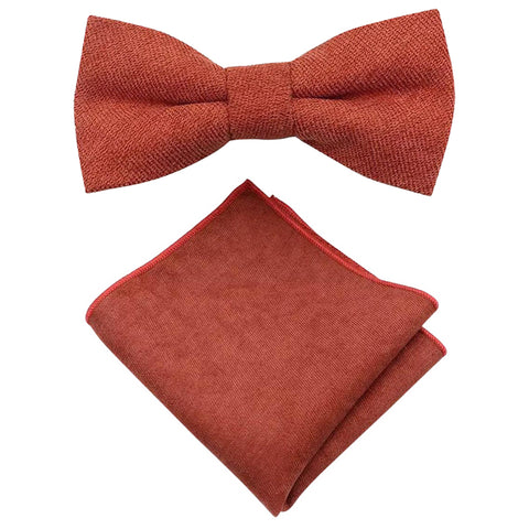 Bea Rusty Burnt Orange Cotton Blend Bow Tie and Pocket Square Set