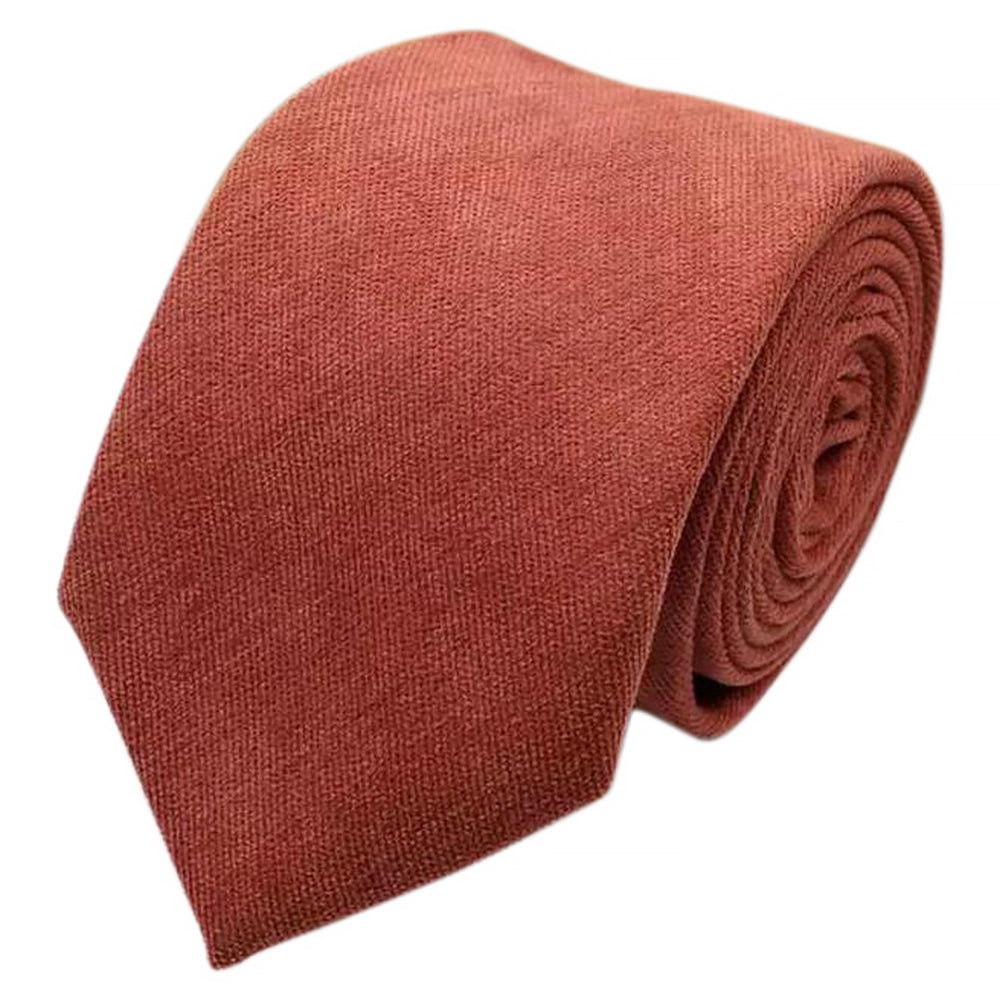 Bea Rusty Burnt Orange Cotton Blend Skinny Tie