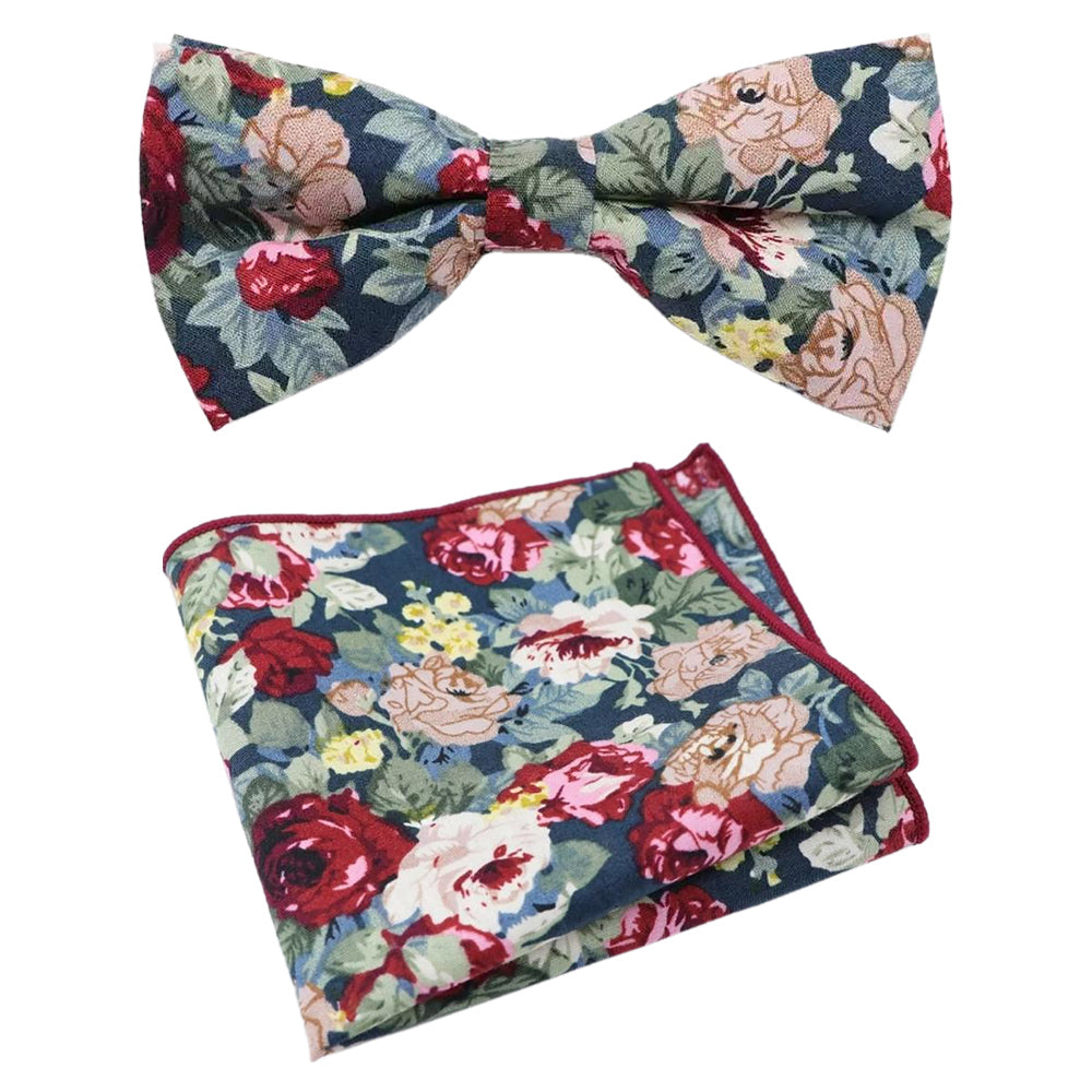 Bobby Blue Floral Cotton Bow Tie and Pocket Square Set