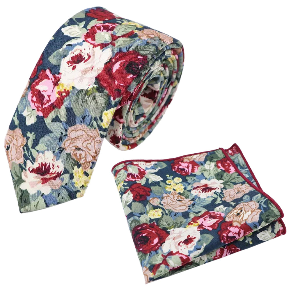 Bobby Blue Floral Cotton Tie and Pocket Square Set