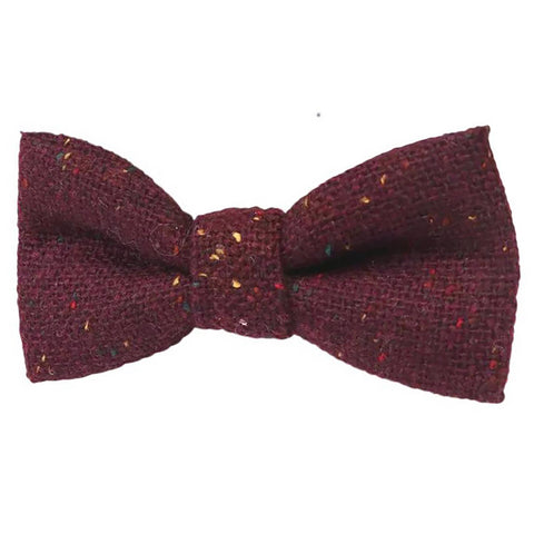 Carter Tweed Wool Burgundy Red Boys Kids Bow Tie
