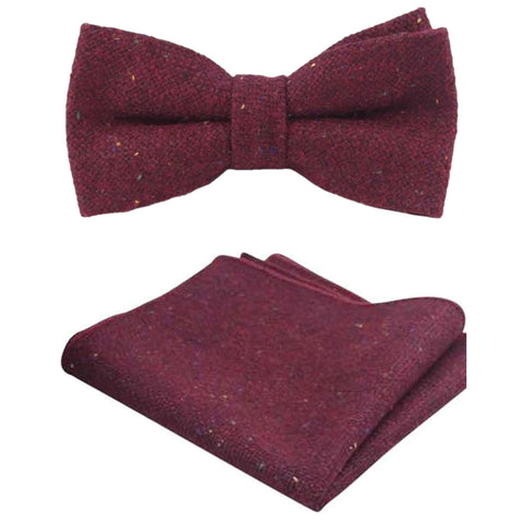 Carter Tweed Burgundy Red Bow Tie and Pocket Square Set