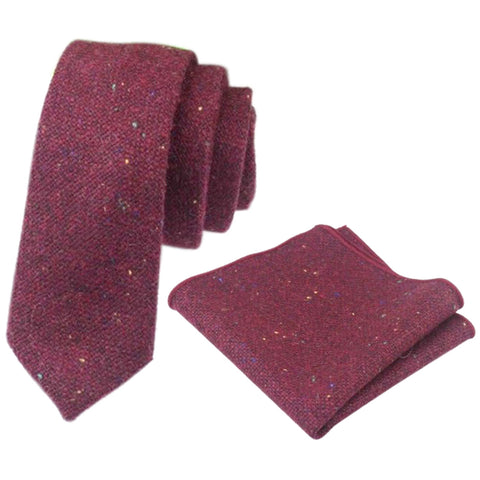Carter Tweed Burgundy Red Tie and Pocket Square
