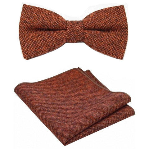 Charlie Burnt Orange Tweed Bow Tie & Pocket Square Set