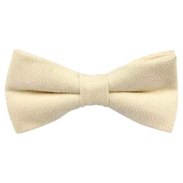 Christian Plain White Cotton Bow Tie and Pocket Square Set